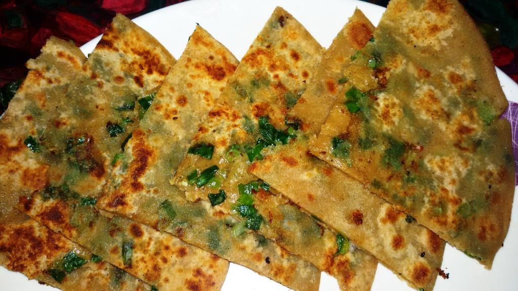 Spring Onions and Cheese Paratha