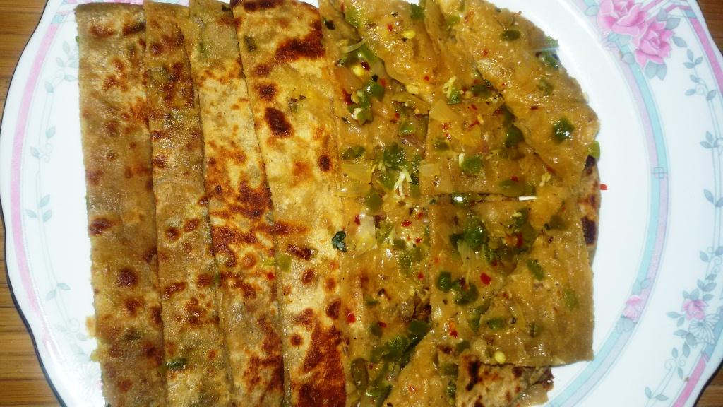 Capsicum Onion And Cheese Paratha