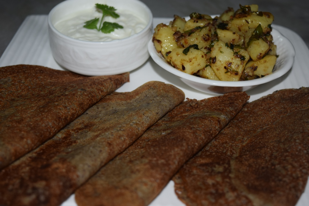 Buckwheat Pancakes (Kuttu ka Chilla) with Spicy Potatoes