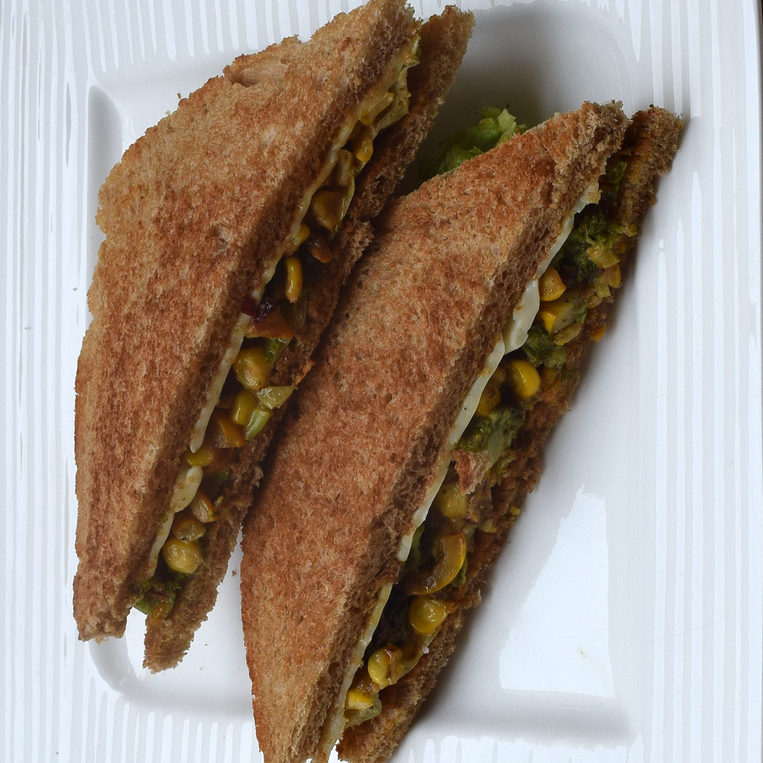 Broccoli, Zucchini and Corn Sandwich Recipe