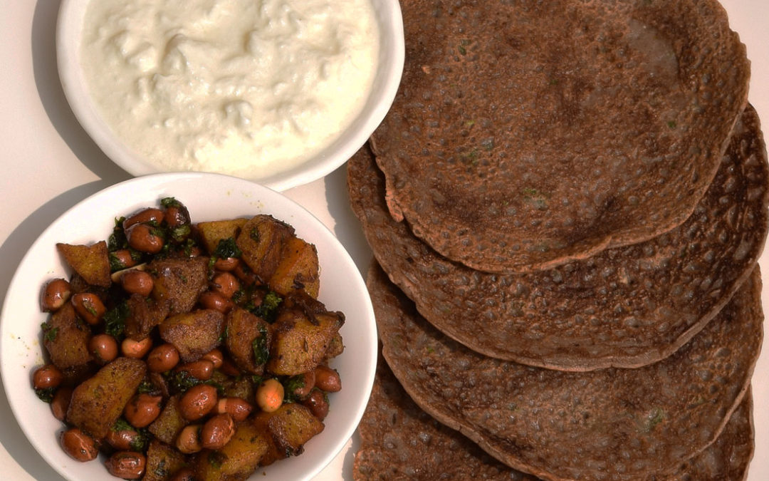 Singhare ka atta chilla with potatoes and peanuts for fasting