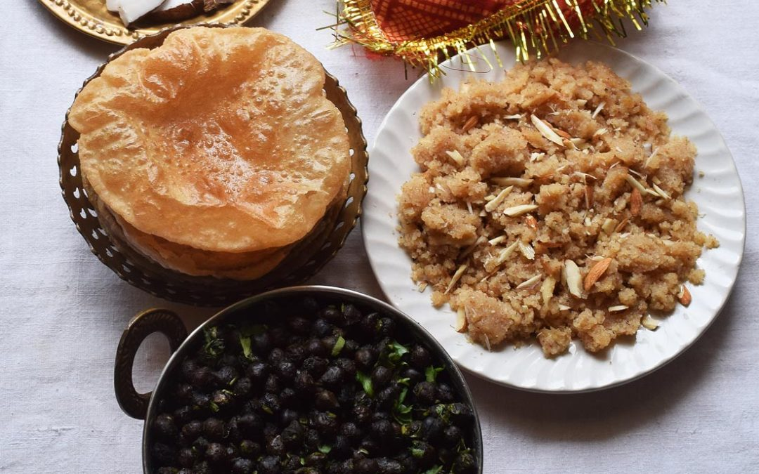 Navratri Prasad | Ashtami/Navami special Kala Chana, Halwa and Poori Recipe